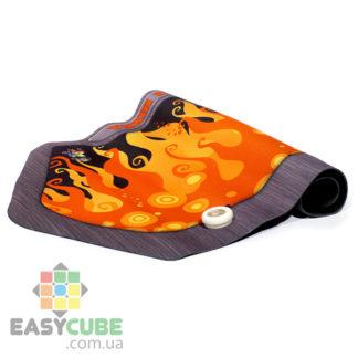 Купить коврик Yuxin (дизайн с огнем) с креплением для таймера для сборки кубиков Рубика (спидкубинг) в Украине