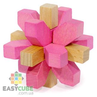 Купить Розовая 3D снежинка (головоломка из дерева) в Украине недорого